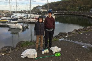 Jack and Hayden Rhodes carried out a litter pick at Glenarm Marina.