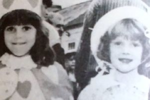 Tina Hastings, Rebecca Boyd and Kathryn Boyd ready to compete in Glenarm Festival's fancy dress. 1992
