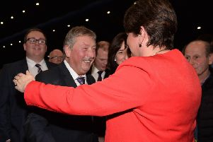 Sammy Wilson congratulated on his re-election by Arlene Foster