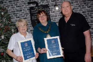 Mayor Cllr Maureen Morrow with the overall winners of the competition, The Stove.