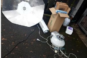 Items recovered by police following a search in Larne.