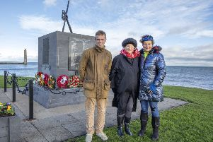 Lady Sarah Grylls (Sally) Mother of Bear Grylls)  Bear's sister Lara Fawcett and his nephew, Bevan Fawcett, all attended the service at Chaine Memorial Road Larne, where they laid a wreath at MV Princess Victoria memorial service. Photo Paul Faith.