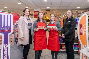 Sophia Woods and Niamh Reynolds from St. Killian's College, Antrim with their Home Economics teacher Catherine Diamond (left) and Assistant Manager of SuperValu Kells, Debbie McGall.