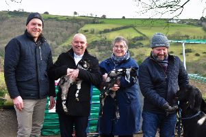 Jubilee's Dr Jonny Hanson with Rev Dr William Henry, Rev'Gabrielle Farquhar and Rev David Cromie at Jubilee Farm, with newly-born goat kids.