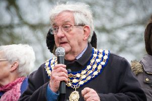 Cllr Michael Coker addressing a crowd at the annual Duck Race during his time as Kenilworth's mayor. NNL-151226-162617009