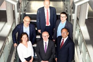 Christine Jackson (Wright Hassall), Matt Western MP, Ajay Desai (Chamber). Rear (left to right): David Wilson (Glued), Pete McGuire (Wright Hassall) Sean Rose (Chamber).