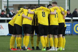 Leamington form a huddle ahead of their home clash with Brackley. Picture: Tim Nunan