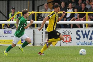 James Mace in action against Bradford Park Avenue.