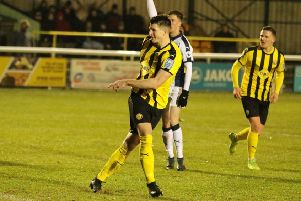 Jack Edwards fires home for Leamington. Pictures: Tim Nunan