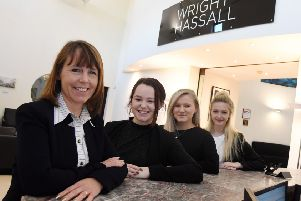 From left, managing director Sarah Perry with apprentices Connie Bell, Molly Clarke, Sophie Hayne.