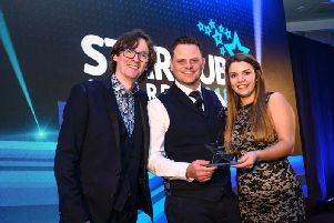 Matt and Alexandra Crowther are pictured at the awards with comedian Ed Byrne.
