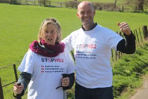 Gerry Bishop and her son Matt are walking the route of HS2 from Cubbington to London to protest against the high-speed rail music.