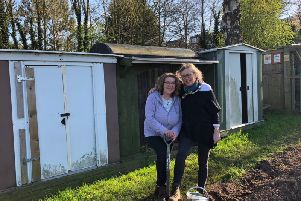 Helen Smith, founder of Evelyns Gift, with Mandy Littlejohn at the allotment.