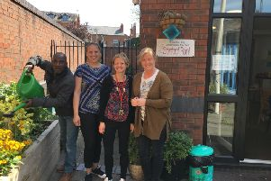The Way Ahead Project. Left to right: visitor Charlie, volunteer Ljupka Stojanovska, project worker Emma Bird and project manager Yvonne Mckinnon.