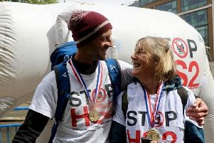 Matt Bishop and his mother Gerry at the end of the walk.