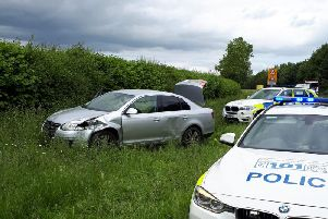 The stolen car where drugs, balaclavas and false number plates were found. Photo by OPU Warwickshire