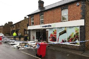 The Co-op in Fenny Compton after the suspected ram raid last night