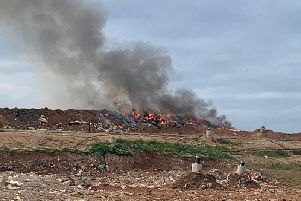 The fire at the landfill site in Bubbenhall. Image courtesy fo Kenilworth Fire Station.