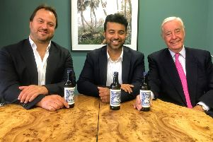 Empress Ale founder Surj Virk (centre) with new investor Rupert Hambro (right) and