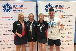 Grace Newman (second from left) with her gold medal at the British Transplant Games, Birmingham.