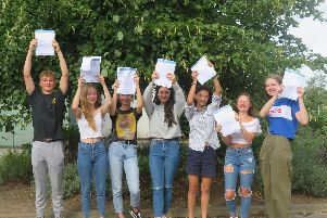 North Leamington School pupils Daniel McCarthy, Alice Hutton, Annamari Realo, Rachel Barnes, Leah Martin, Fern Linehan and Maddy Stinton celebrate their GCSE results.