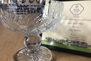 The Mike Garwood Memorial Award vase for Jephson Gardens and Gold Award certificate for Leamington in Bloom in the Heart of England in Bloom competition.