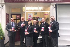 From left to right: Henry Ison & Sons Garry Hughes, Darren Naylor, Elizabeth Armstrong, Karen Pattenden, Kevin Register and Paul Atkinson have become organ and blood donors