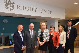 Life Beyond Treatment project, which was awarded the 2017 Rigby Award, has helped cancer patients and survivors to maximise their wellbeing and regain a sense of normality.'(Left to right): Glen Burley, Sir Peter Rigby, Angie Arnold, Professor Diane Playford, Marian Cartter and Russell Hardy. Photo supplied.