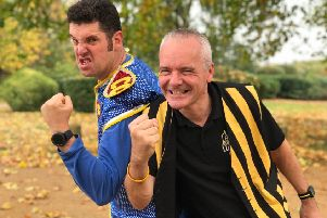 Colonel Custard (right) and Captain Calamity are aiming to break the pie-flinging world record at London's ExCel Centre