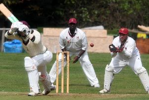 Great Brickhill skipper Doug Aris behind the stumps