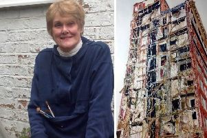Sandra Walker (left) and right one of her paintings