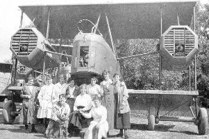 One of the first Vimy bombers to come off the Morgans production line with some of the women workers