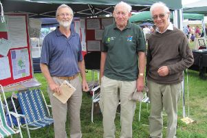 John Hartley (left) with Tony Birch, Planning Officer and Cedric Hoptroff, Vice President, at the Canal Festival in 2012