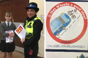 Winner: Maddie King with PCSO Rachel Carne. Right: the poster.