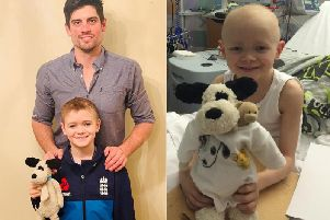 Alastair Cook with young Harry Banks