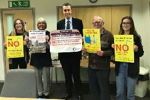 South Beds Friends of the Earth plastic campaigners with Andrew Selous MP
