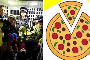 Left: PCSO Rachel Carne at a previous community engagement event. Right: Don't miss Pizza with the Police!