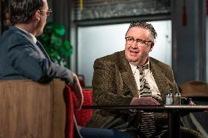 Scott Sparrow (John Williamson) and Mark Benton (Shelley Levene) in Glengarry Glen Ross