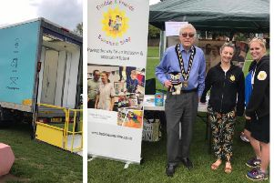 Left: Mobiloo. Right: Mayor, Cllr David Bowater, meets Freddie and Friends Sunshine Stop.