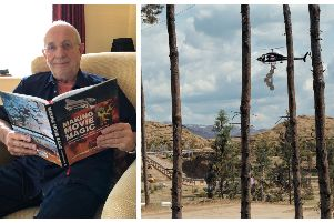 John still visits  the Warner Bros Studios, Leavesden, and looks after its water tanks, one of which was used for Harry Potter. He's pictured above with his new book. Right: a James Bond scene he masterminded for the film The World is Not Enough.