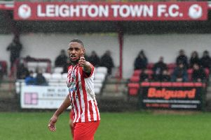 Ashton Campbell scored a hat-trick in Leighton Town's 8-0 win against London Colney on Saturday