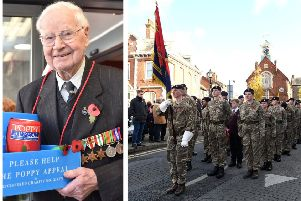 Left: Wally Randall. Right: A previous Remembrance parade.