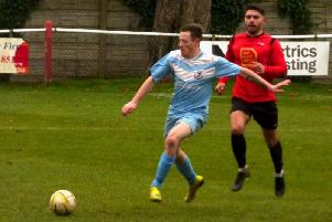 Danny Webb scored both goals in Saturday's win over leaders Tring  PICTURES BY ANDREW PARKER