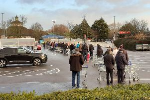 Water bottle queues at Tesco, Sunday 8.30am. Photo: Branko Bjelobaba