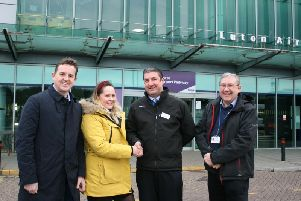 L-R: GTR's Community Engagement Officer Andrew Chillingsworth, Autism Bedfordshires Adult Services Manager Sharna Raine, Station Manager Joe Healy and Community Rail Partnership Officer Andy Buckley at Luton Airport Parkway Station