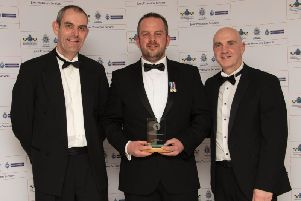 L to R: Chief Constable for Hertfordshire Charlie Hall, PC Jim Hoare and ACC Paul Fullwood