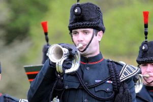 A bugler from 2 Rifles based at Thiepval Barracks, Lisburn