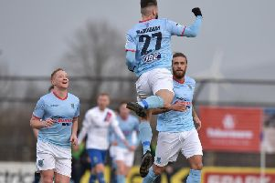 Jonathan McMurray celebrates drawing Ballymena level in the first half.