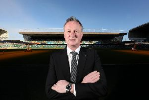Michael O'Neill at the National Stadium at Windsor Park on Friday having signed a new contract