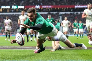 Jacob Stockdale stretches out to score Ireland's third try in Saturday's 24-15 win over England at Twickenham